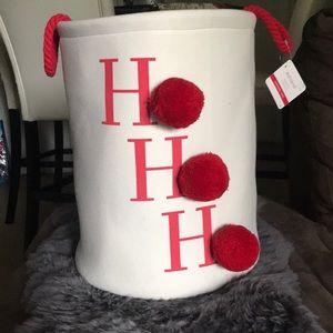 "large ""ho ho ho"" farmhouse Christmas basket❤️NWT"